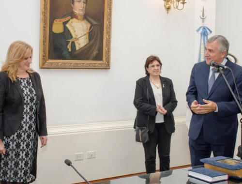 El gobernador Gerardo Morales puso hoy en funciones a la nueva secretaria de Gestión Educativa del Ministerio de Educación, Silvina Camusso, quien asumió en reemplazo de Aurora Brajcich.  Enero 2019